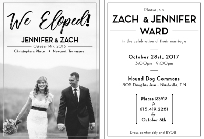We Eloped! -Announcement/Invitation, 2017